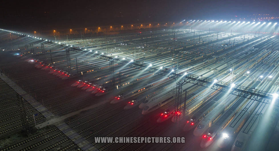 40 Bullet Trains Line-Up in China
