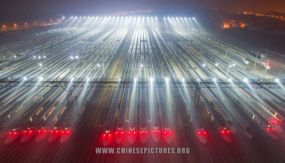 40 High-Speed Trains Line Up in China
