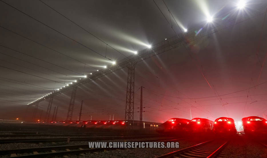 40 China Bullet Trains Line Up